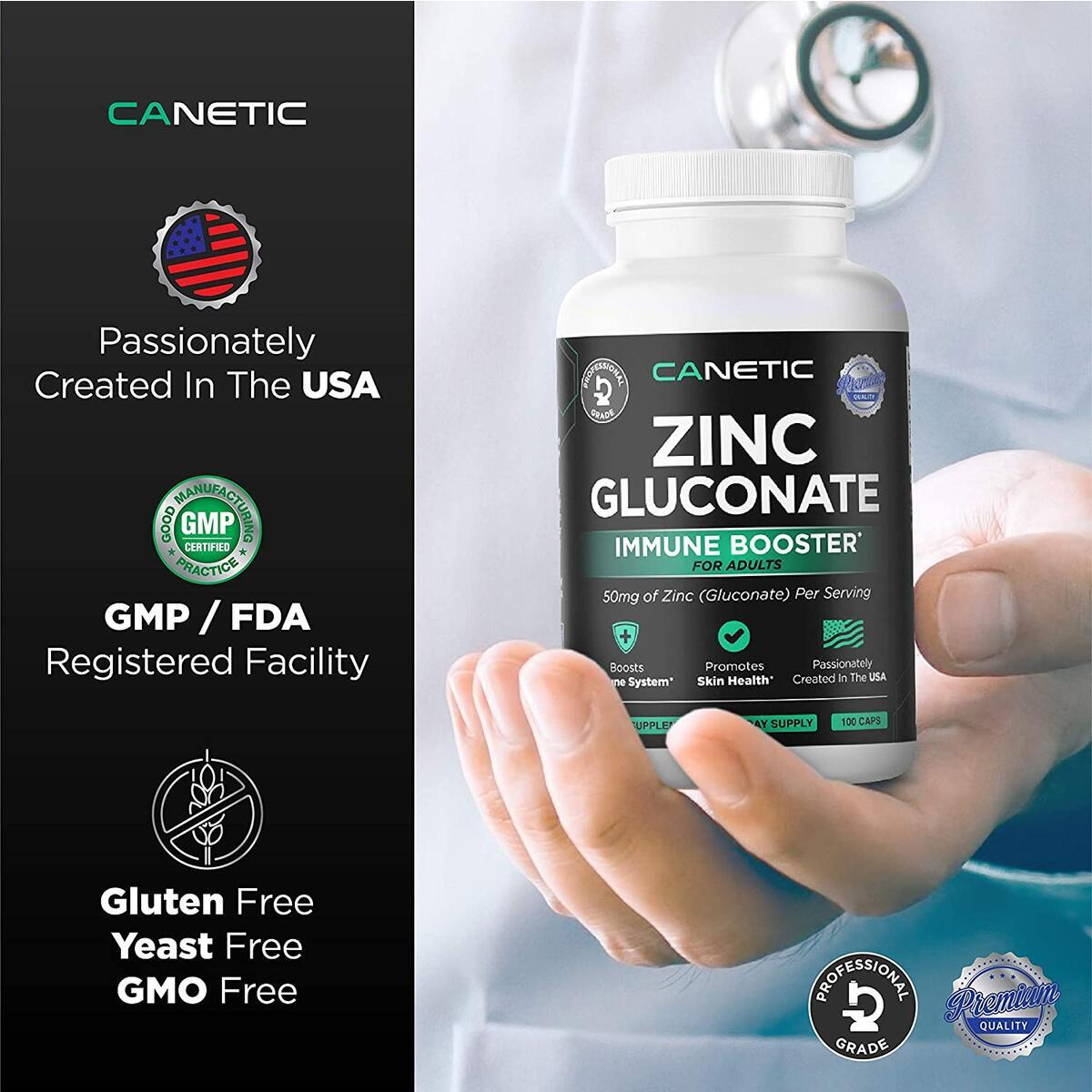 Zinc 50mg Supplement | 200 Day Supply Vegan Capsules Non-GMO Pills Zinc Vitamins for Adults