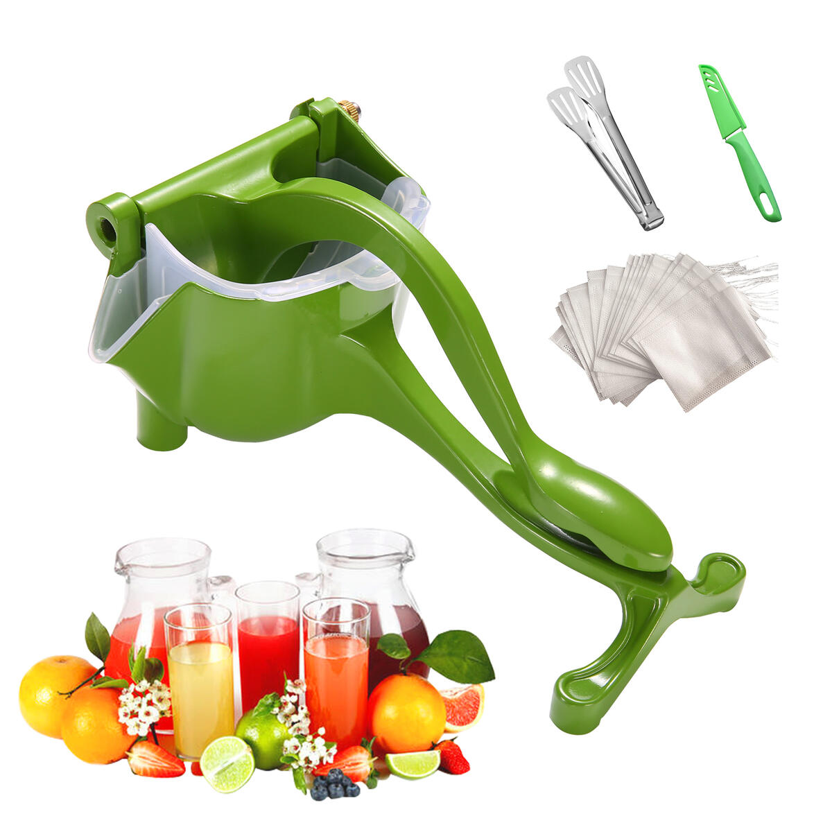 Manual Fruit Juicer,Portable Lemon Orange Citrus Pomegranate Hand Press,Handheld Large Capacity Nuts Lime Squeezer,Detachable Corrosion Protection Extractor Tool,Family Kitchen Gadget (Vibrant Green)