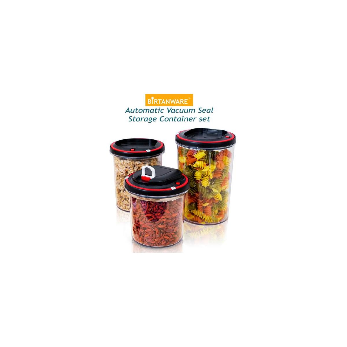 Vacuum Pump Food Storage Containers | Set of 3 | Airtight Lids | Pantry Organization | Cereal Container