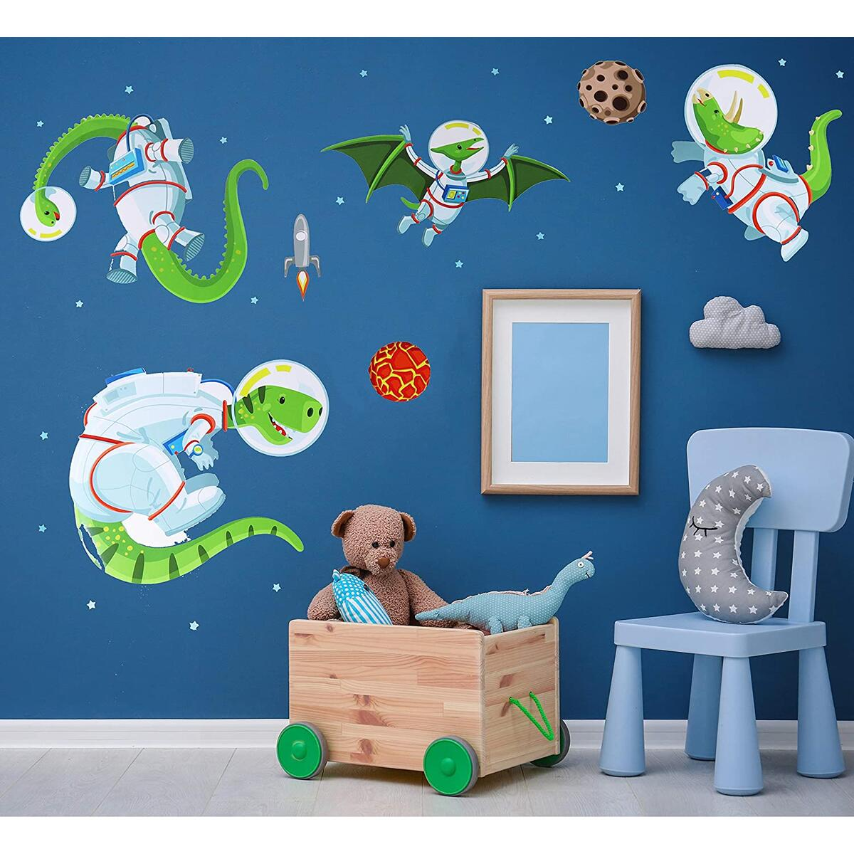 Dinosaur Astronaut Space Adventure Wall Decal Set for Kids