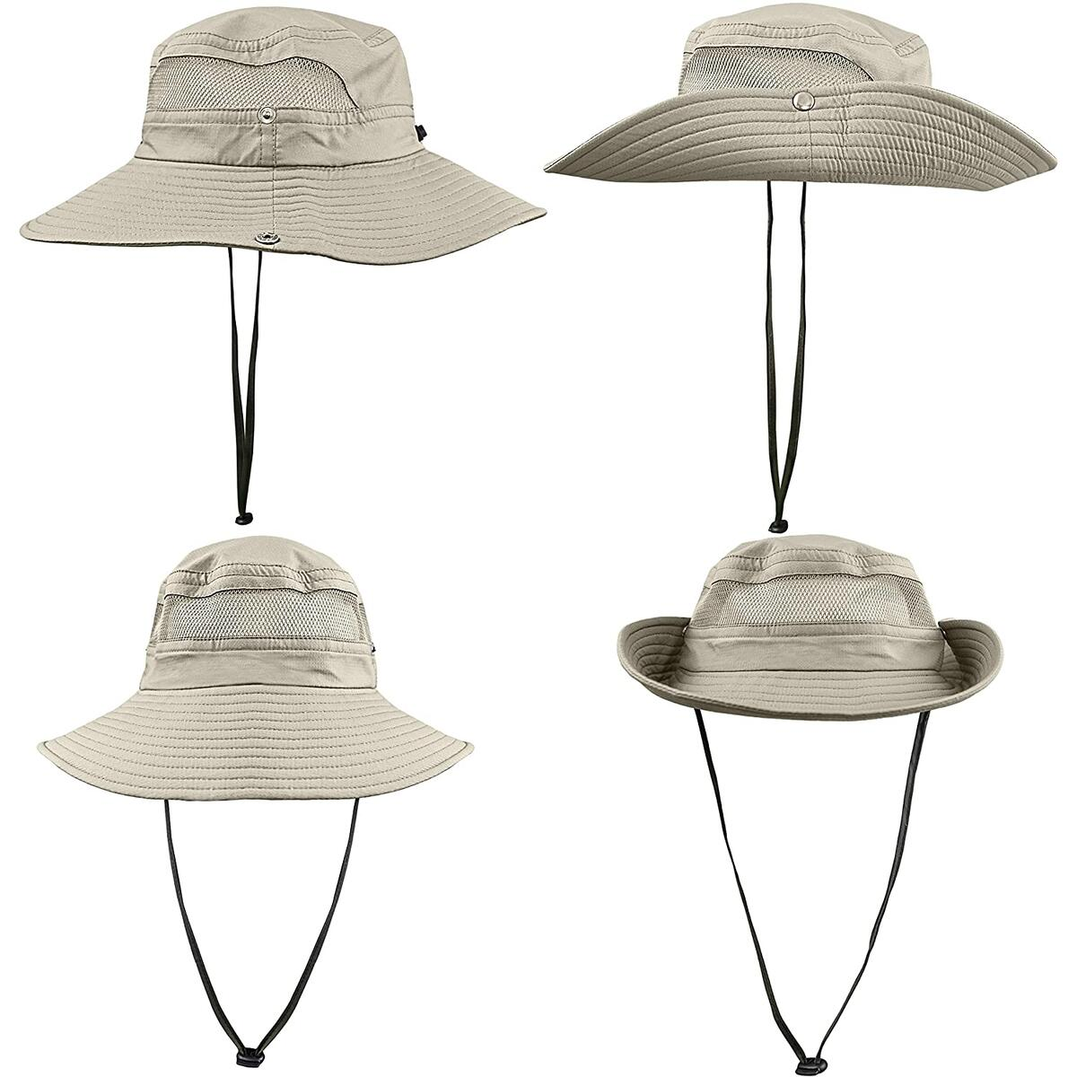 GearTOP Fishing Hat and Safari Cap with UPF50+ Sun Protection - Premium Hats for Men and Women (Khaki, Beige, Army Green, Black Camo))