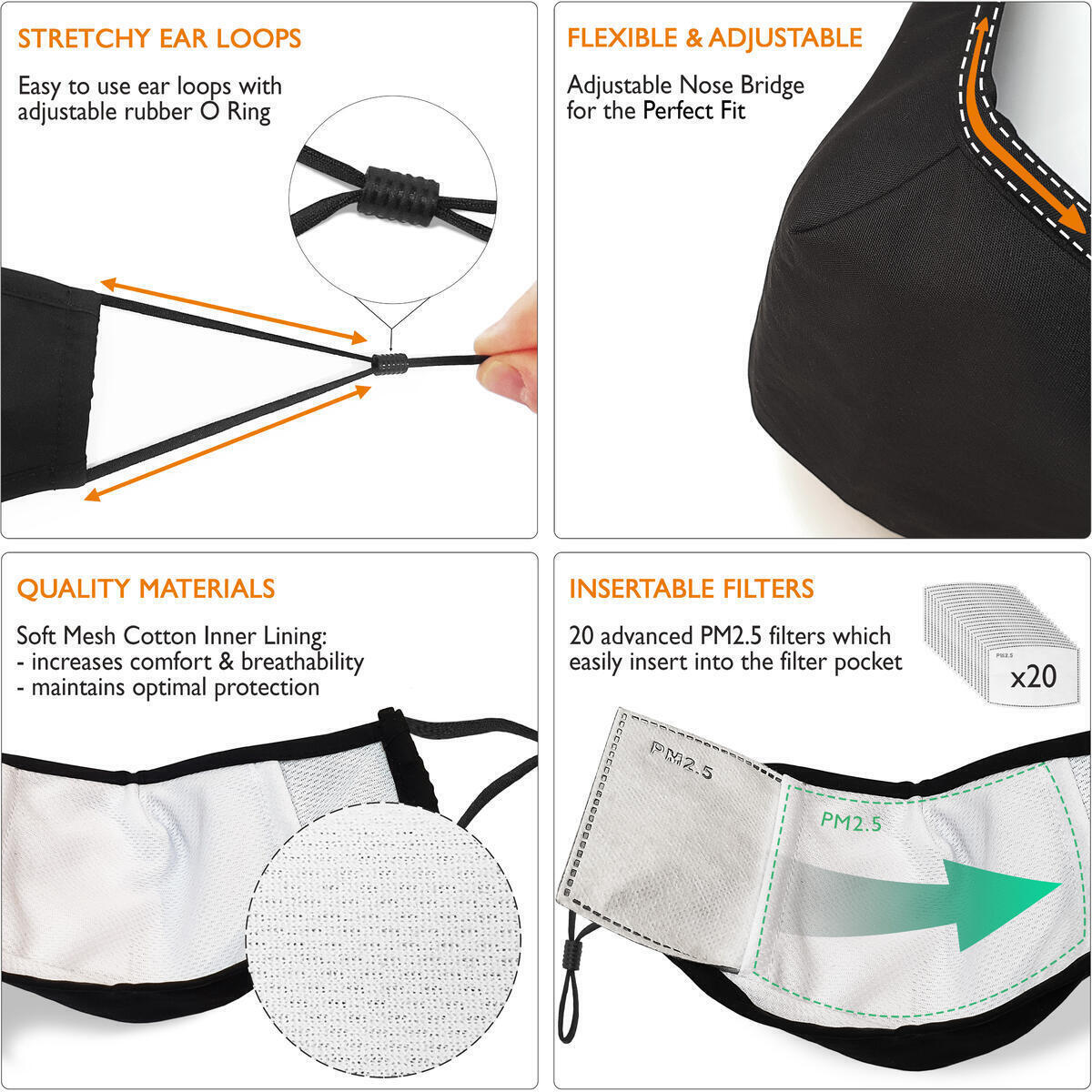 Proventure Protective Face Reusable Cover - 5pack unisex Protective Adjustable face Covering, Soft mesh cotton lining (Includes 20 pack of Filters)
