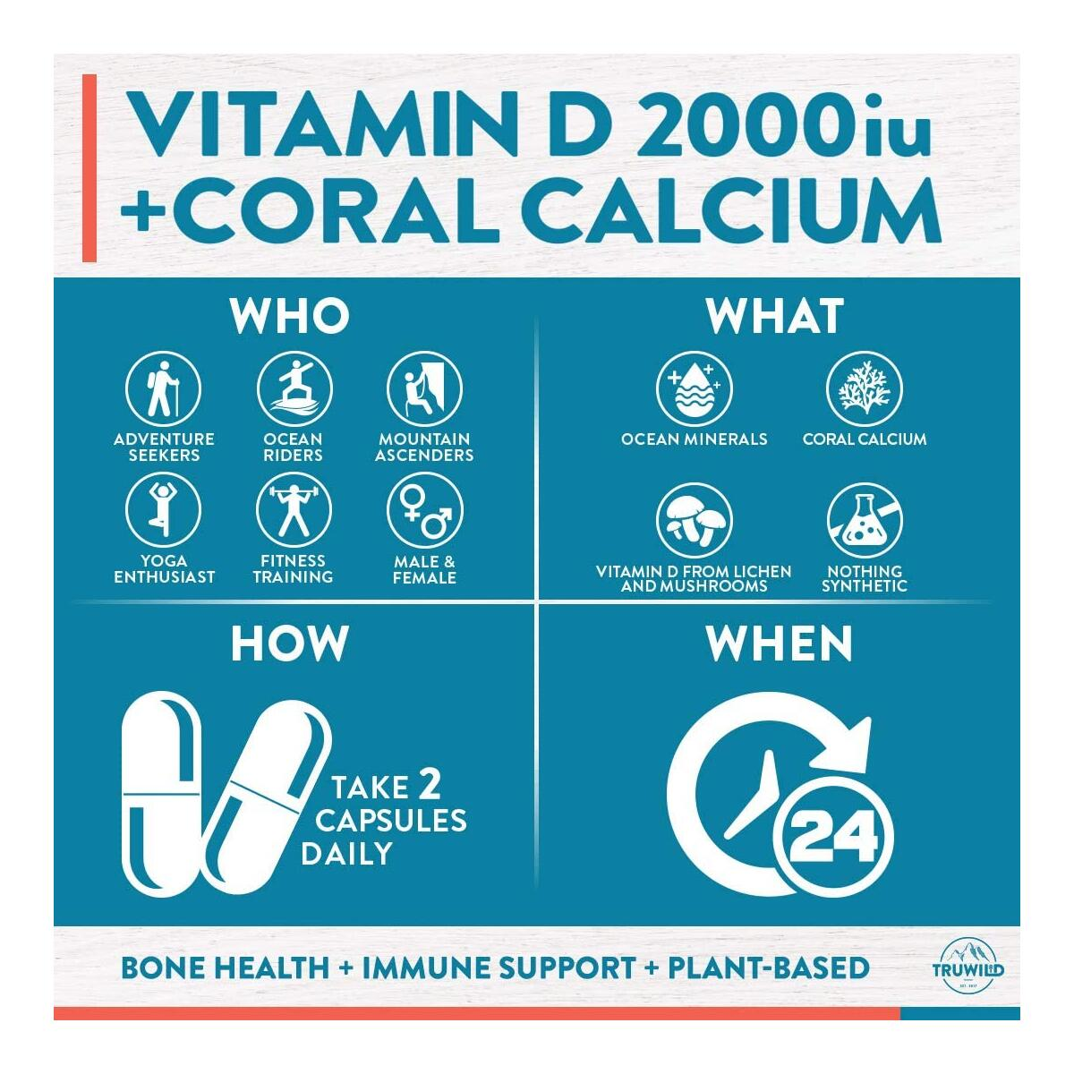 VEGAN VITAMIN D3 2000iu for Immune Support, Healthy Muscle Function, Bone Health, and Calcium Absorption [60 Capsules]