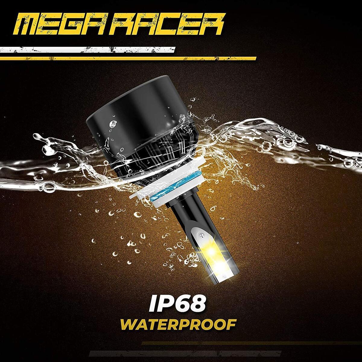 Mega Racer 9006/HB4 Fog Lights LED Headlight Bulb, 3 Changeable Colors for Fog Light Replacement Bulb (6000K Diamond White, 3000K Golden Yellow, 4300K Warm White), 50W 8000 Lumens COB IP68, Pack of 2