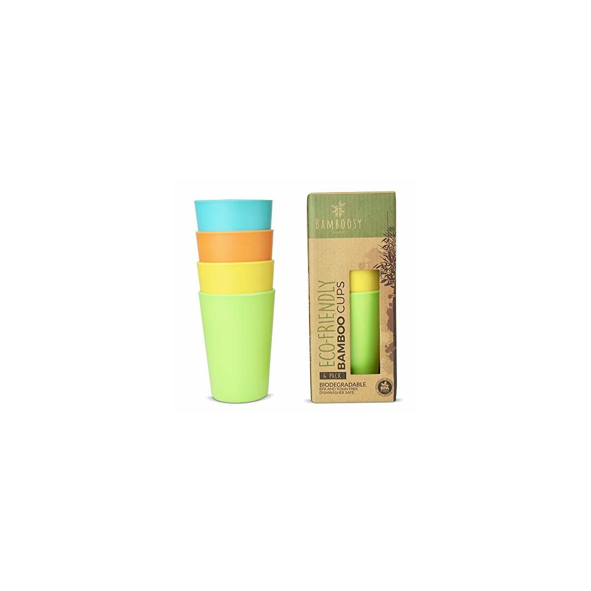 Eco-Friendly Bamboo Cups by Bamboosy – Set of 4 Reusable Bamboo Cups for Kids & Adults – Non-Toxic BPA-Free – Dishwasher Safe – Biodegradable – Perfect for Parties, Picnic, BBQ, Outdoor & Home Use