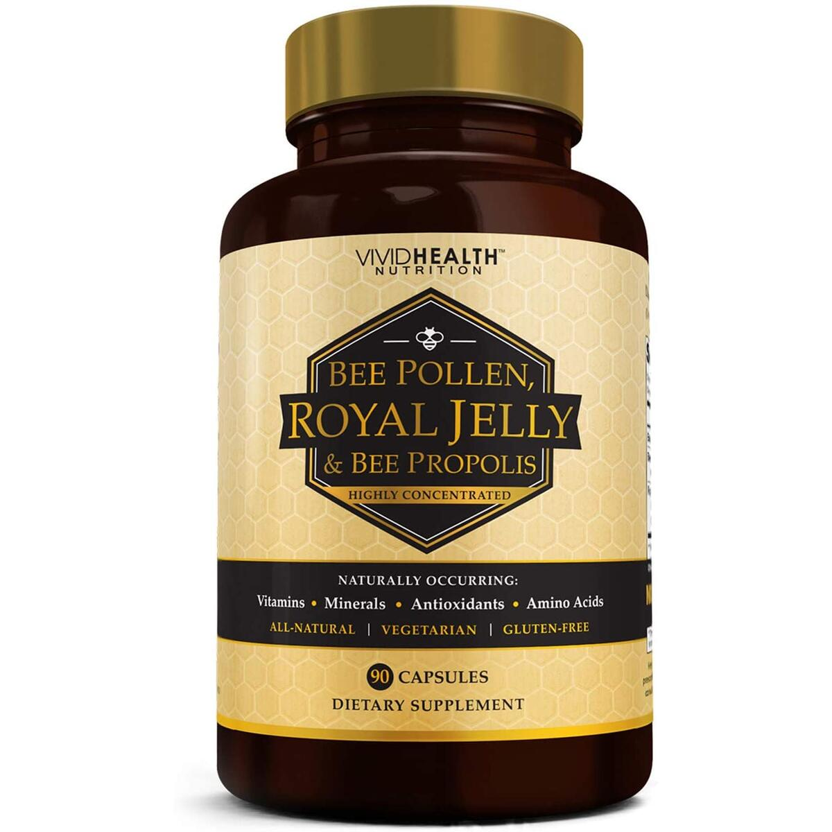Vivid Health Nutrition High Potency Royal Jelly and Bee Pollen Capsules, 90 Count