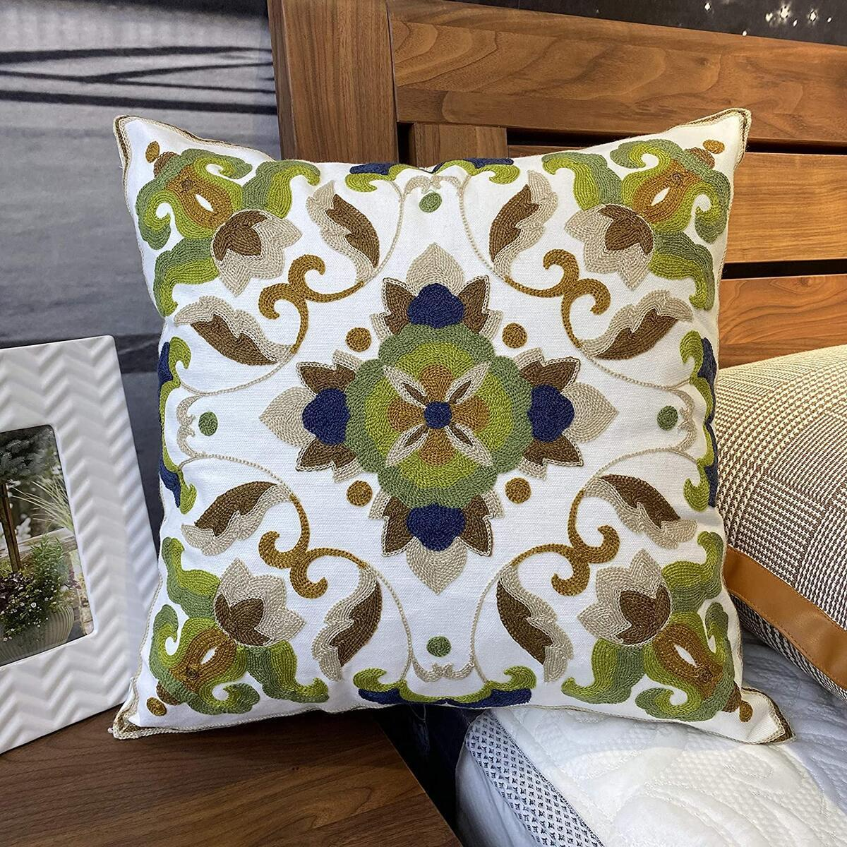 「THIS COLOR ONLY」Bohemia Exotic Embroidery Decorative Pillow Cover 18x18