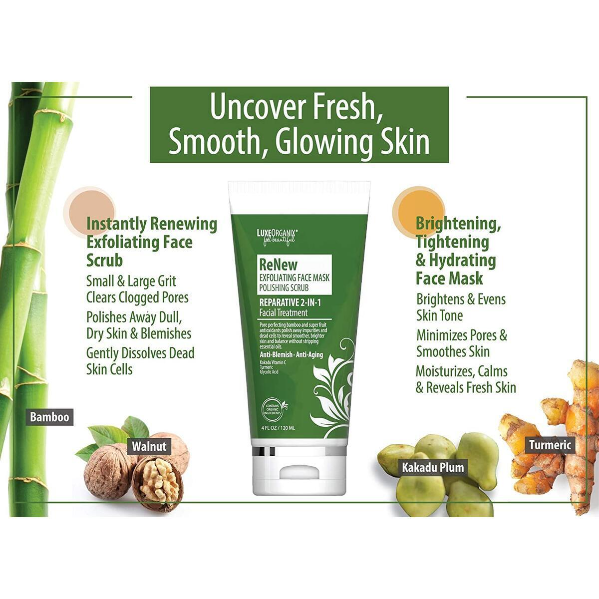 LuxeOrganix Exfoliating Face Scrub Skin Care Mask (Not Valid With Any Other Offers Or Coupons)