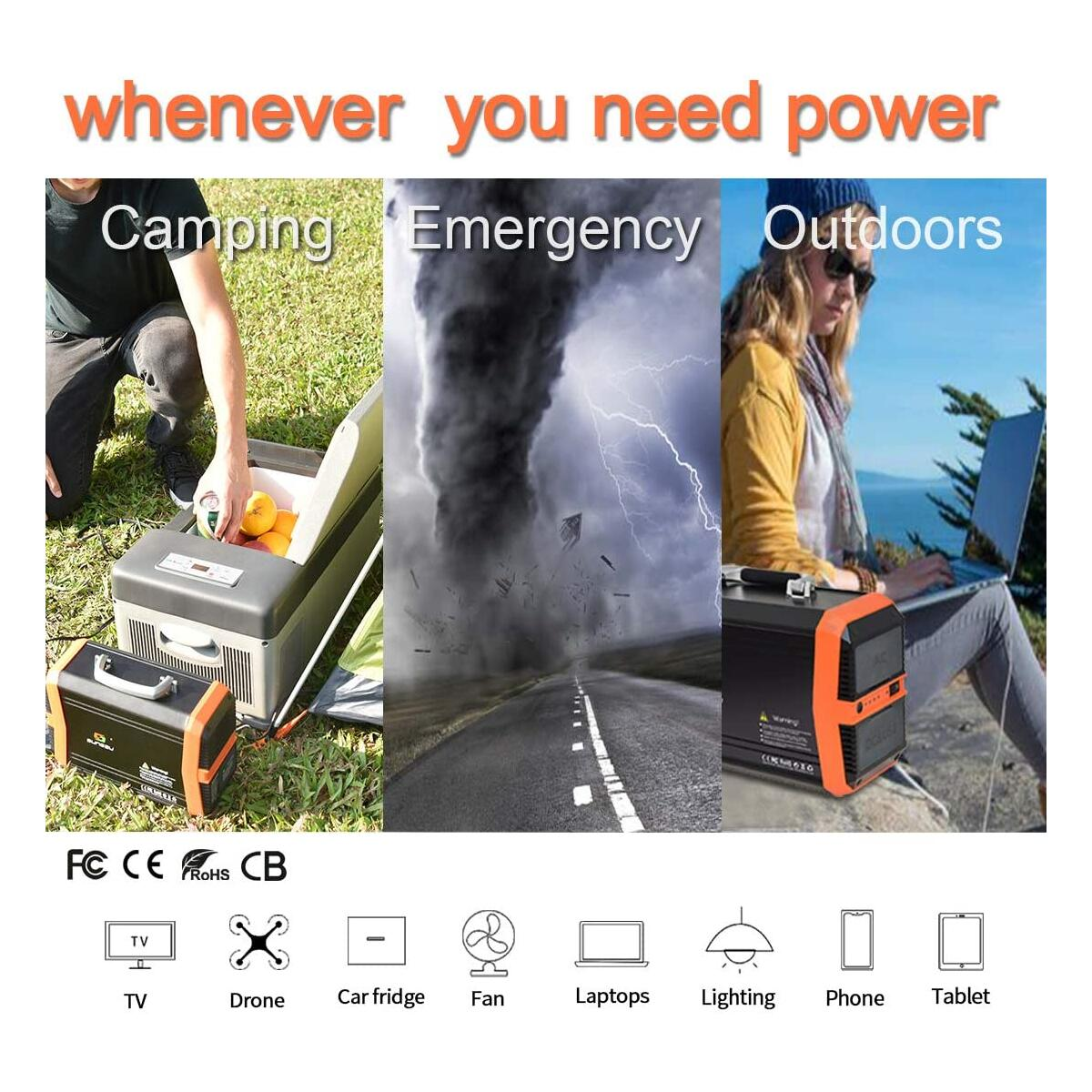 SUNGZU Portable Power Station 300W, Portable Solar Generator 346Wh 11.1V/31.2Ah Backup Lithium Battery with 2AC 2DC 4USB