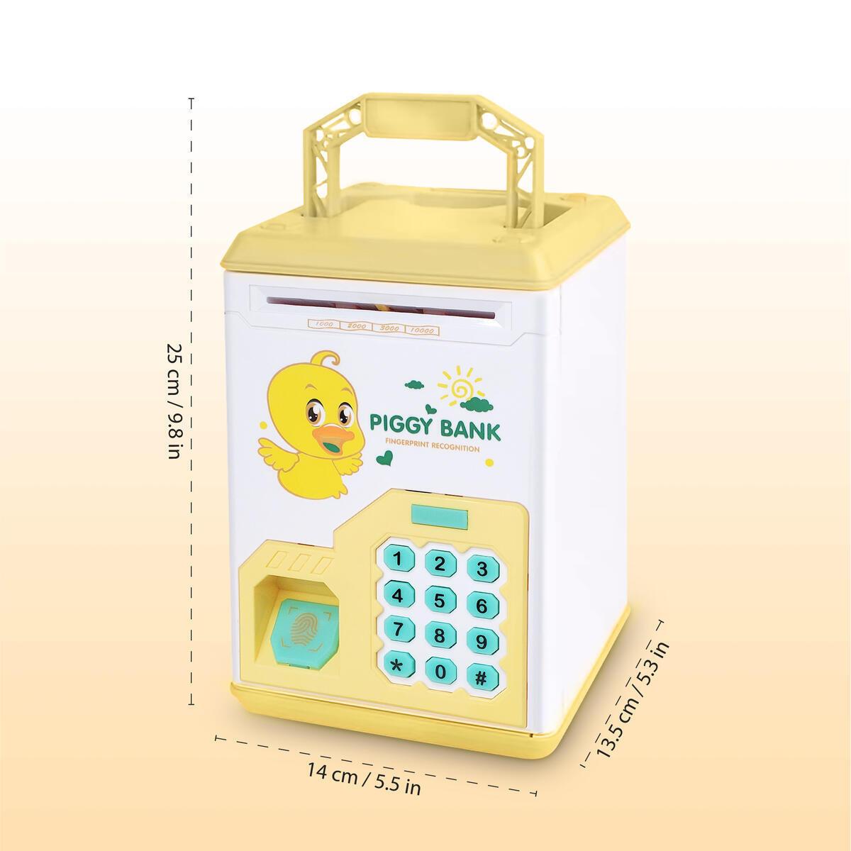 Buddy N Buddies Kids Money Safe Box ATM Safe Bank Fingerprint and Password Electronic Piggy Bank Cash Coin