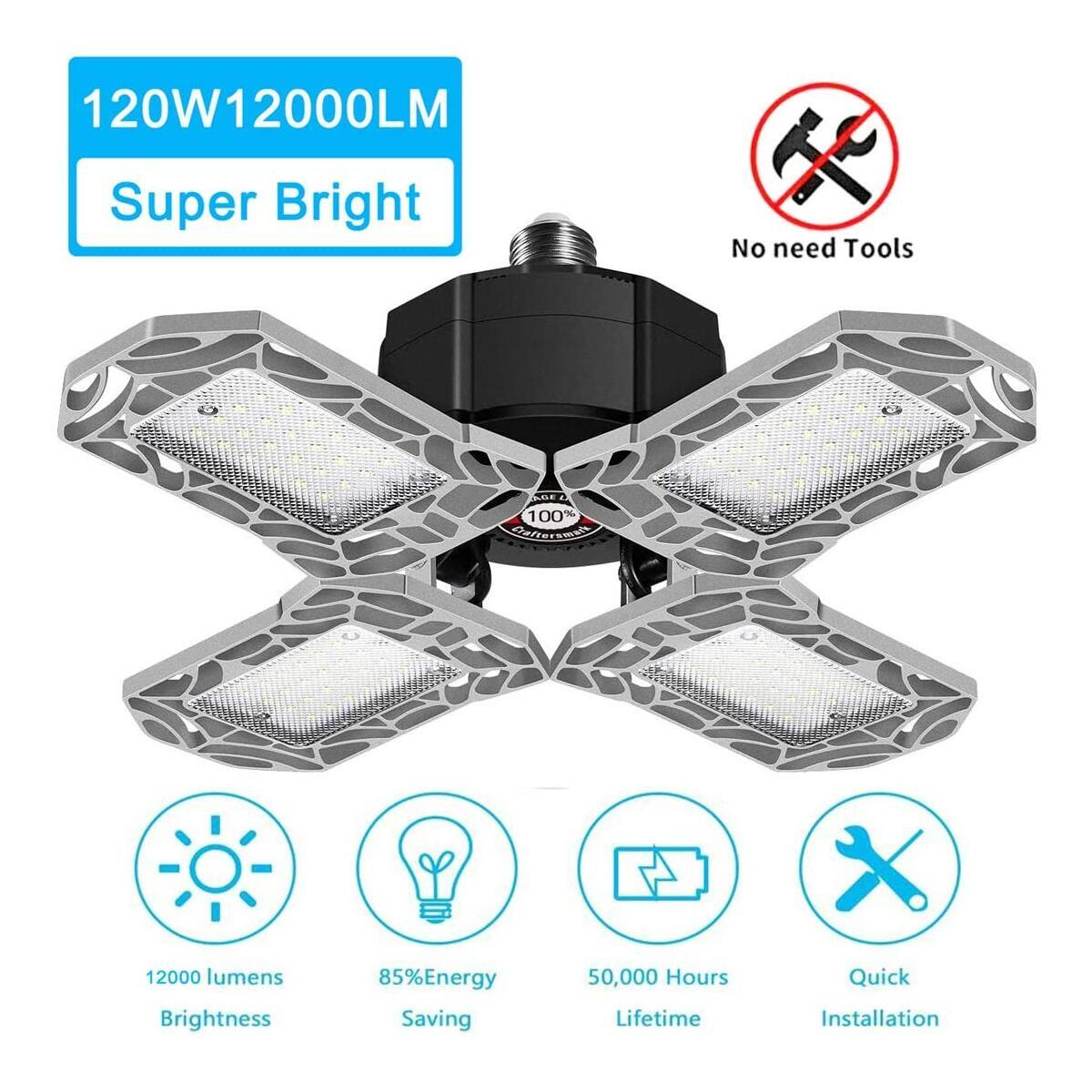 LED Garage Lights 120W, New 4 Panels 12000lm Deformable Garage Ceiling Light, 360° Retractable Quadruple Glow LED Adjustable Garage Shop Lighting Bulb E26/E27 for Garage,Barn, Warehouse,Workshop(Silver)