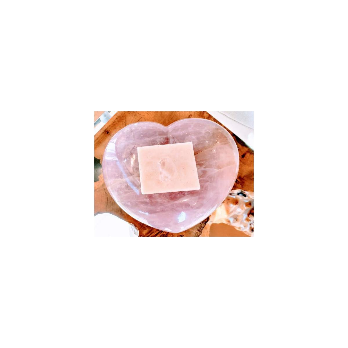 LifeStone Rose Quartz Crystal Soap with French Pink Clay and Rose Geranium Essential Oil