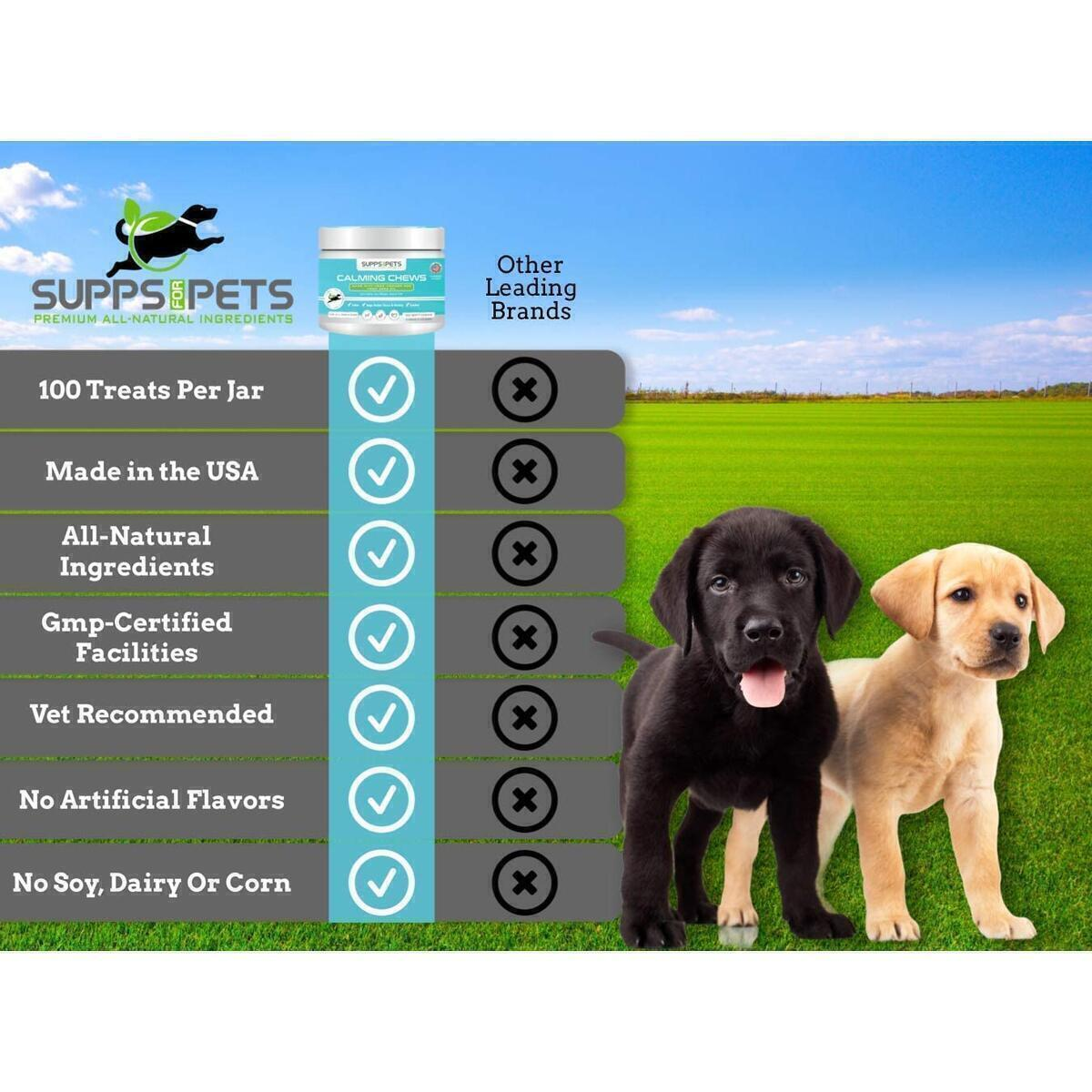 Organic Hemp Dog Calming Chews - Separation Anxiety, Stress Relief & Calm Behavior - Low Calorie with Melatonin - Aids with Fireworks, Thunder, Chewing & Barking Bites for All Sizes (100ct)