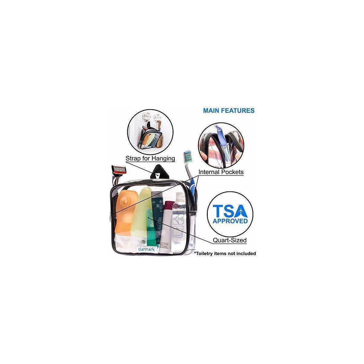 TSA Approved Toiletry Bag 3-1-1 Clear Travel Cosmetic Bag with Handle - Quart Size Bag with Zipper - Carry-on Luggage Clear Toiletry Bag for Liquids - Airport Airline TSA Compliant Bag