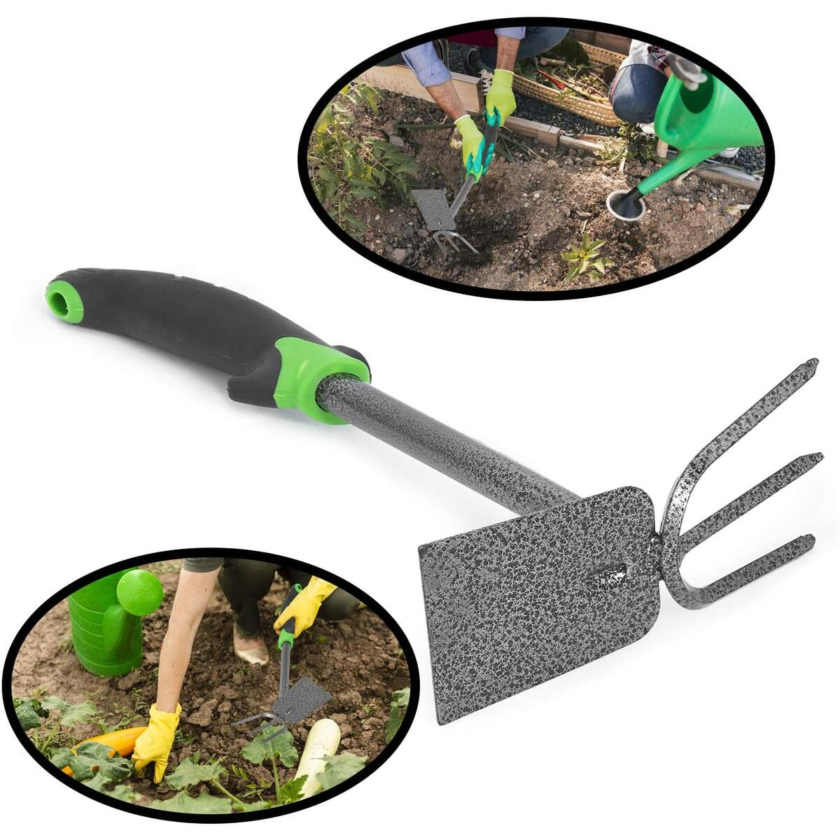 Garden Hoe and Cultivator, Dual Head Vegetable and Flower Tiller for Weeding and Digging in The Garden, Heavy Duty Carbon Steel, Bend Proof, Hand Digger and Spade Combo with Ergonomic Handle