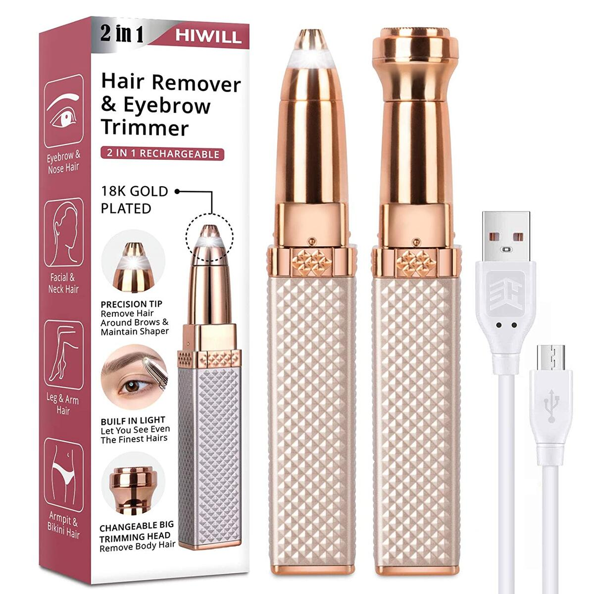 Eyebrow Trimmer, Rechargeable Facial Hair Remover for Women, 2 in 1 Eyebrow Razor and Painless Eyebrow Hair Remover with Built-in LED Light for Face Lips Nose Facial Hair Removal for women Men