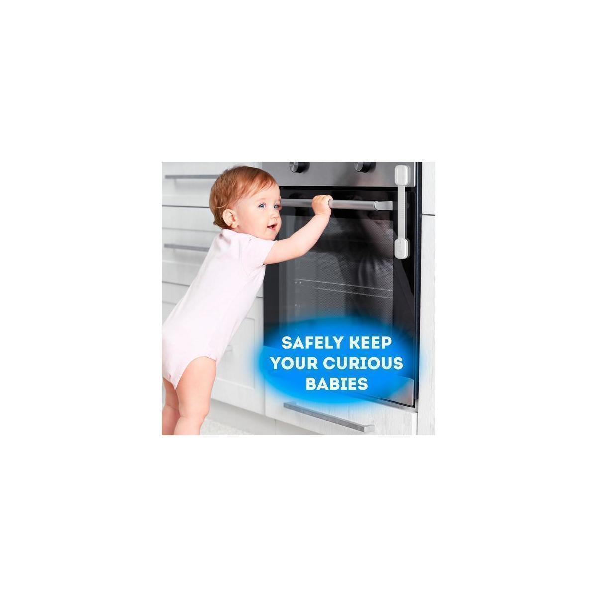 Multipurpose Baby Safety Child Cabinet Lock Latch – Set of 6 Adjustable Locks & 4 Corner Guards
