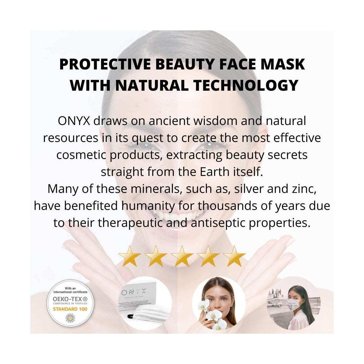ONYX Beauty ZINC Mask for Acne Fighting Also Helps with Other Skin Issues Technology Zinc Therapeutic Fabric Face Beauty Mask Active Zinc Ions-Minerals for Smooth Face