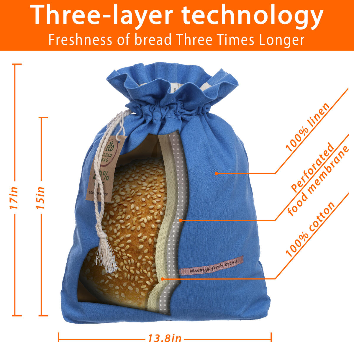 Patented Linen Bread Bag, Reusable Bread Bags for Homemade Bread Large