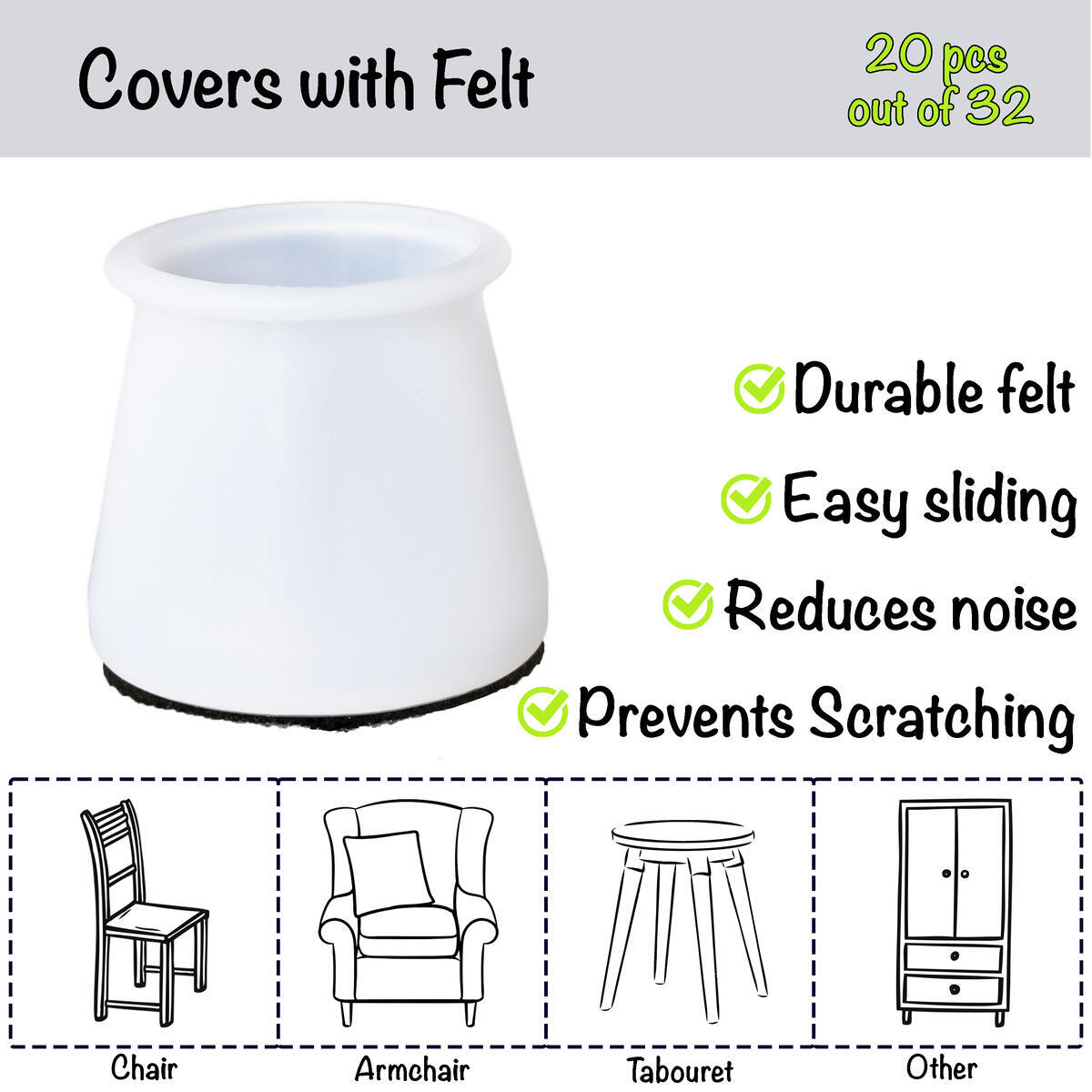NovaHome - Premium Set 2 in 1 Silicon Protection Cover for Chair Legs (25-35mm/1-1.4 inch) | for Slide and Anti-Slip | Table Feet Covers | Chair Cover Floor Protector | 32 Pack(12pcs+20pcs)