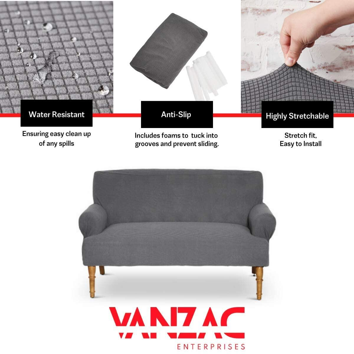 Vanzac | Sofa Slipcover | One Piece | Water Resistant Material | Mesh Couch Protector Cover | Jacquard Stretch Fabric | Loveseat Protection | Furniture Coverings
