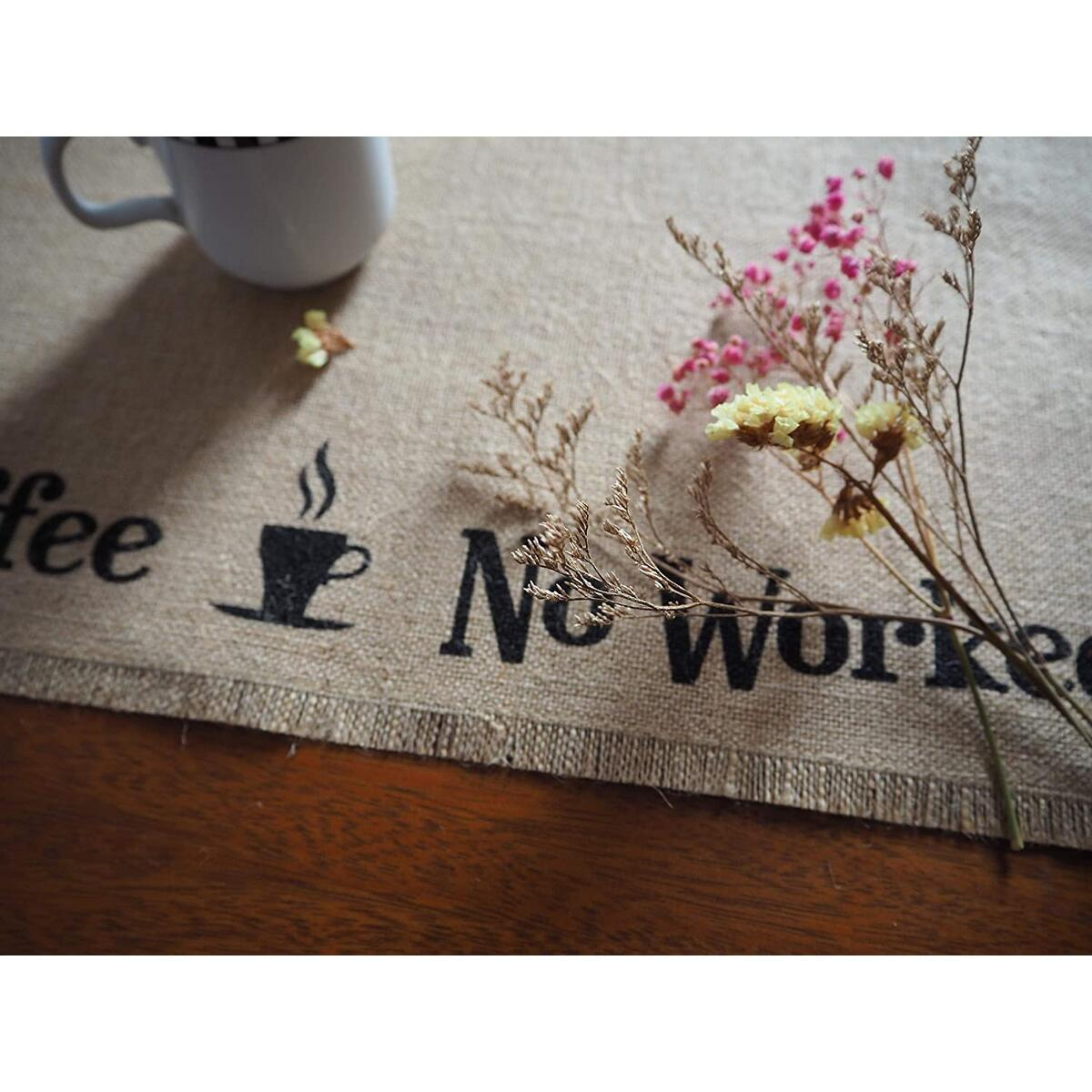 Burlap Coffee Bar Placemat, Farmhouse Coffee Bar Accessories, Countertop Place Mat For Coffee Maker, Wine Station and Coffee Bar Decor, Perfect Gift For Keurig, Coffee and Wine Lovers, 14