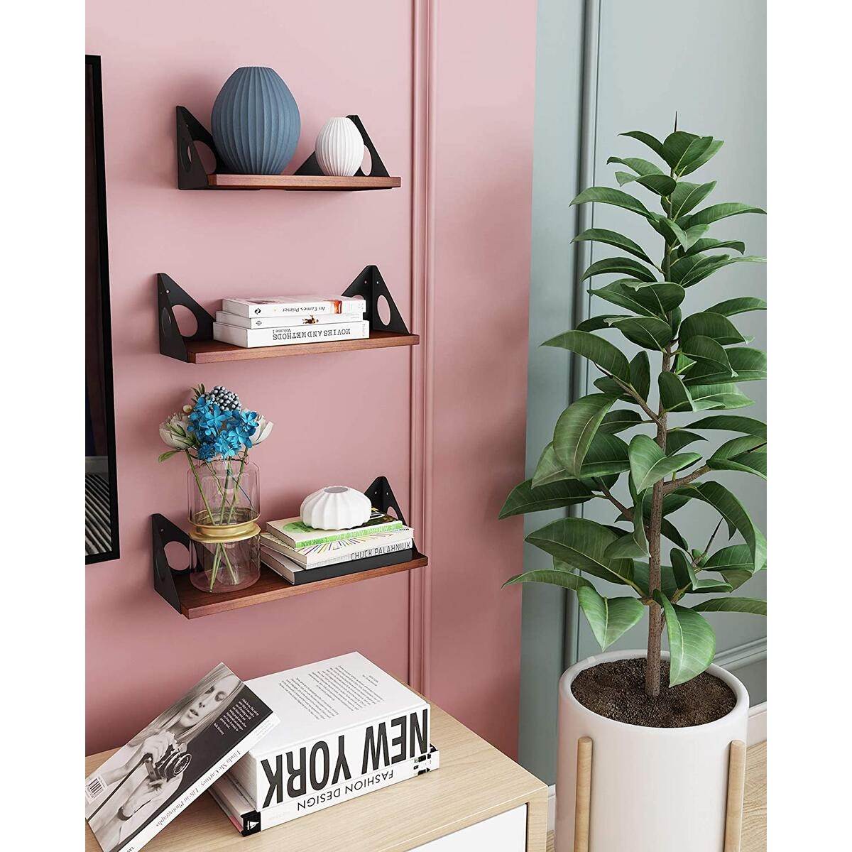 QooWare Floating Shelves Wall Mounted Set of 3, Rustic Wood Wall Shelves for Bathroom, Bedroom, Kitchen, Office, Living Room, Office - Brown