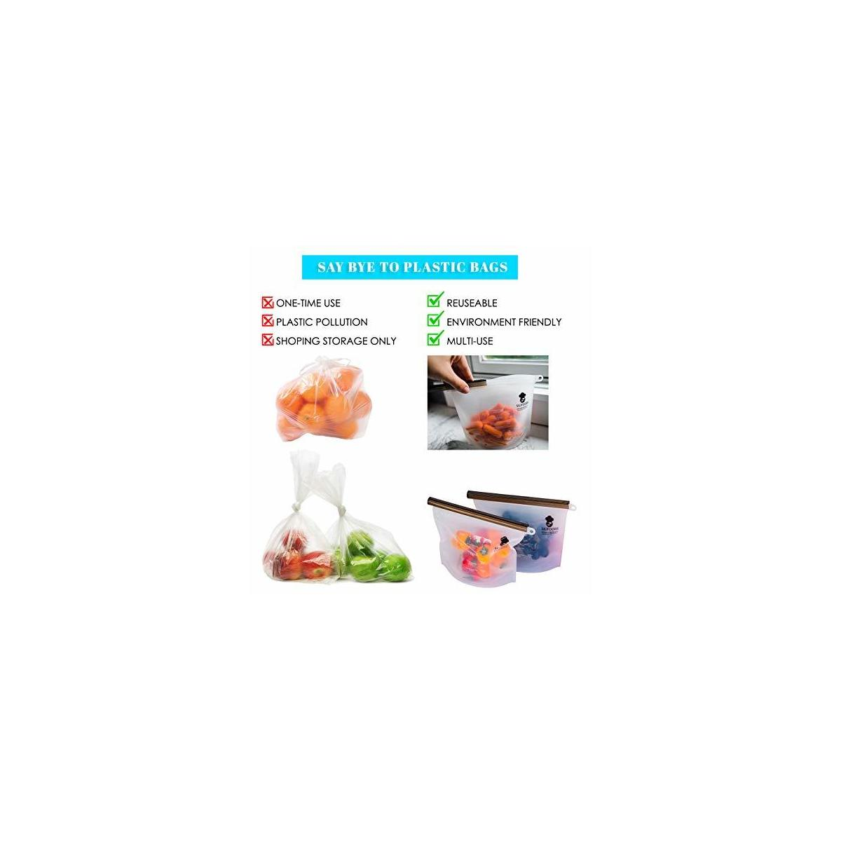 Silifoods-Silicone-Reusable-SILICONE-Silifoods Top Quality Silicone Reusable Food Storage Bags, 6 Silicone Reusable Bags 2 large bags(1.5 liter,6 cups) 4 medium bags (1 liter,4cups) 2 SILICONE REUSABLE STRAWS with cleaning brush