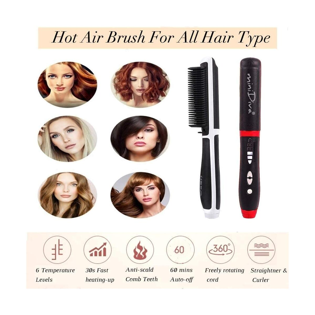 Hot Comb Hair Straightener and Curler 2-in-1 with Anti-Scald Technology, Fast Heating (30s) - Red/White
