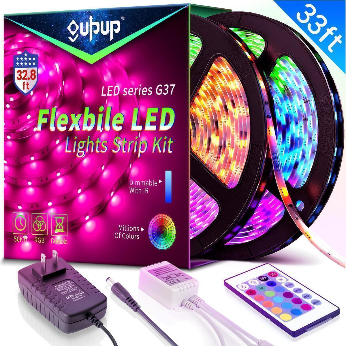 33FT LED Strip Lights, Led Lights Strip with IR Remote Color Changing Led Lights RGB SMD5050 Tape Lights Flexible Rope Lights Led Lights for Bedroom, Kitchen, Party Decoration(2x16.4ft)