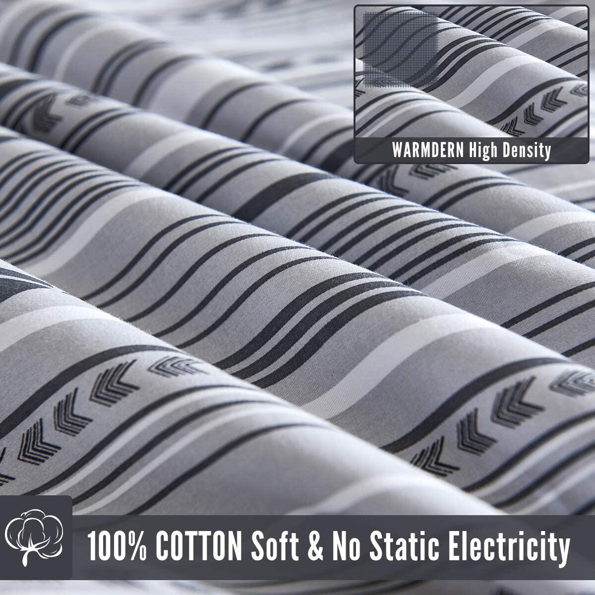 WARMDERN Duvet Cover Set Queen Striped 100% Cotton 3 Pieces Gray Geometric Soft Breathable Simple Style Bedding Set with Zipper Closure & Corner Ties, 1 Comforter Cover and 2 Pillowcase (Queen,Grey)