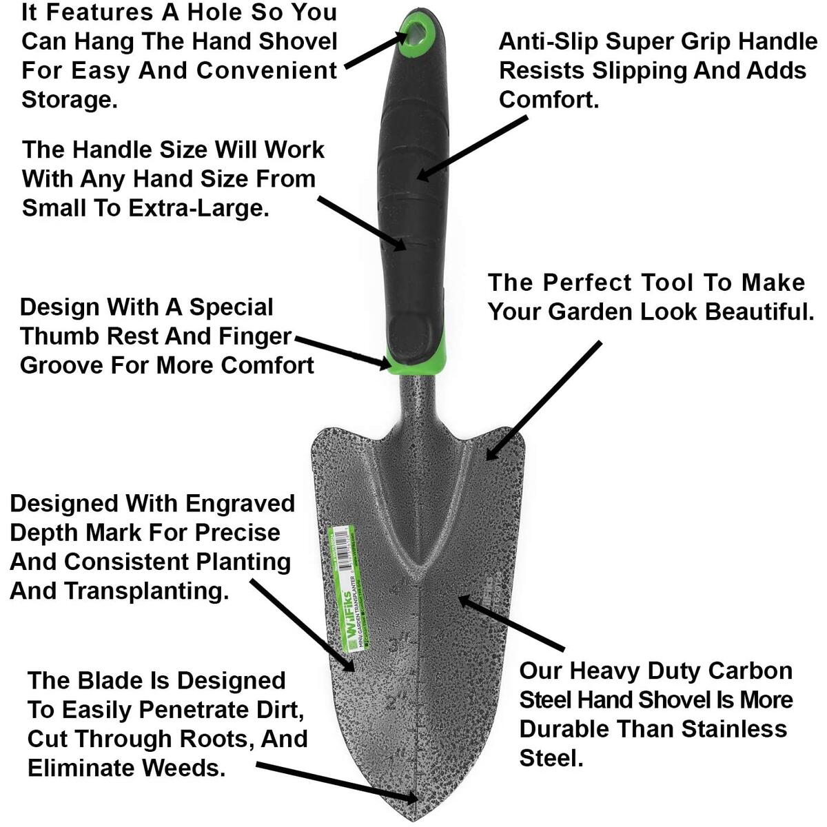 Garden Transplanter Trowel, Hand Shovel for Transplanting, Weeding and Digging in The Garden Bed, Heavy Duty Carbon Steel, Bend Proof Soil Scooper with Depth Marks and an Ergonomic Handle