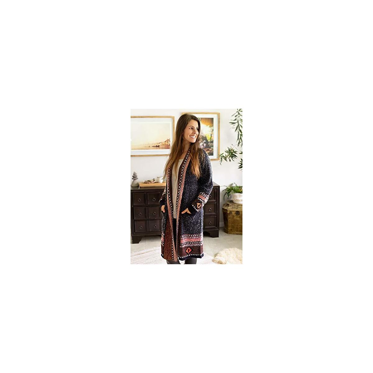 Happy Trunks Womens Boho Cardigan Sweaters Long Sleeve Open Front Maxi Knit Aztec Tribal Fringe Thin Coat