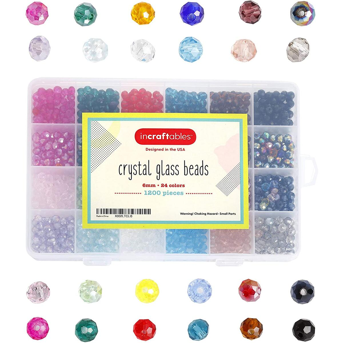 Incraftables Crystal Glass Beads 24 Colors 1200pcs Kit for Jewelry Making, Hair Accessories, & DIY Bracelets.