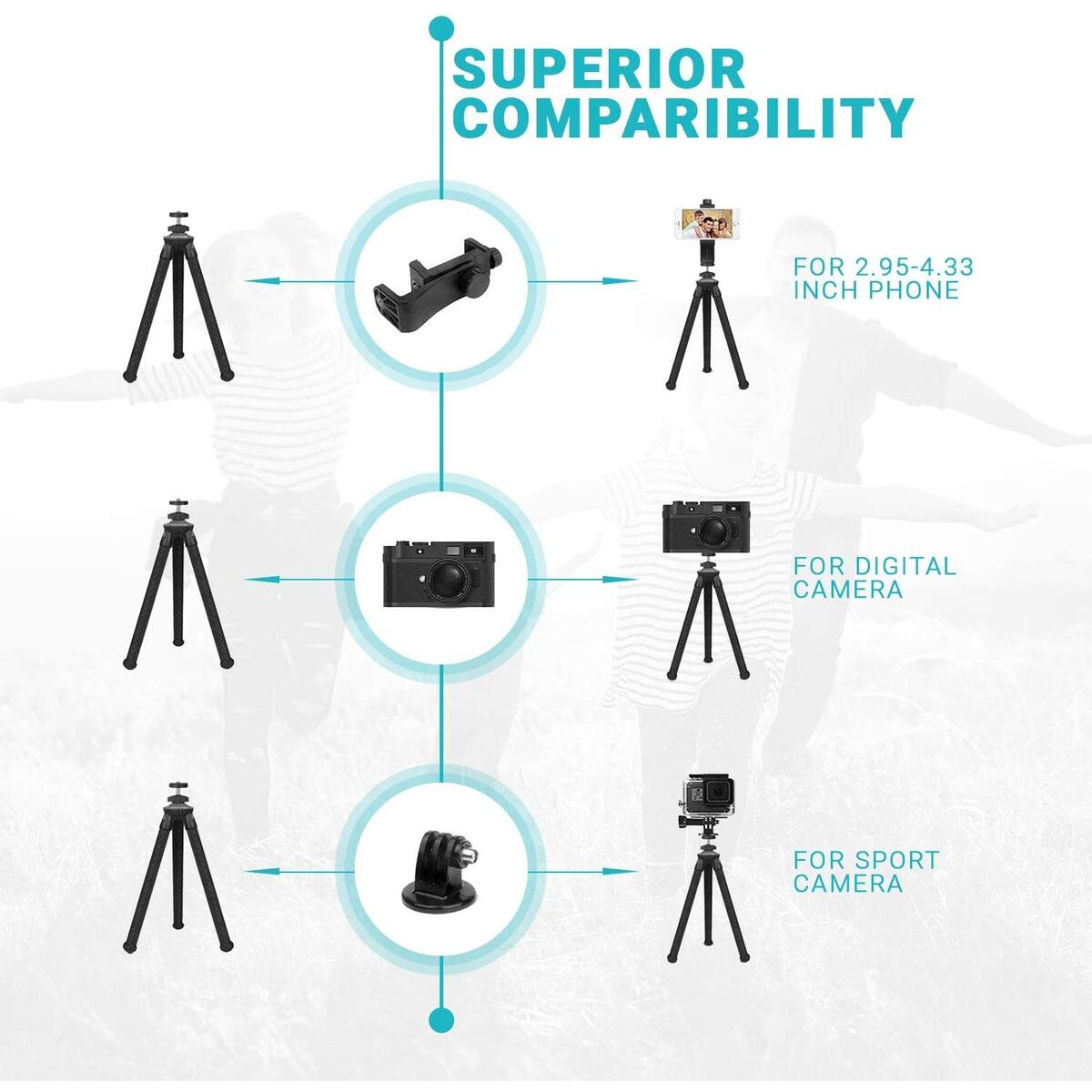 Socialite Flexible Camera Tripod - Bendable 12inch Mini Tripod Stand w/Rotating Cell Phone Mount for Smartphone - Compatible with iPhone, Android, DSLR, Go PRO, Nikon, Canon, Sony Digital Cameras