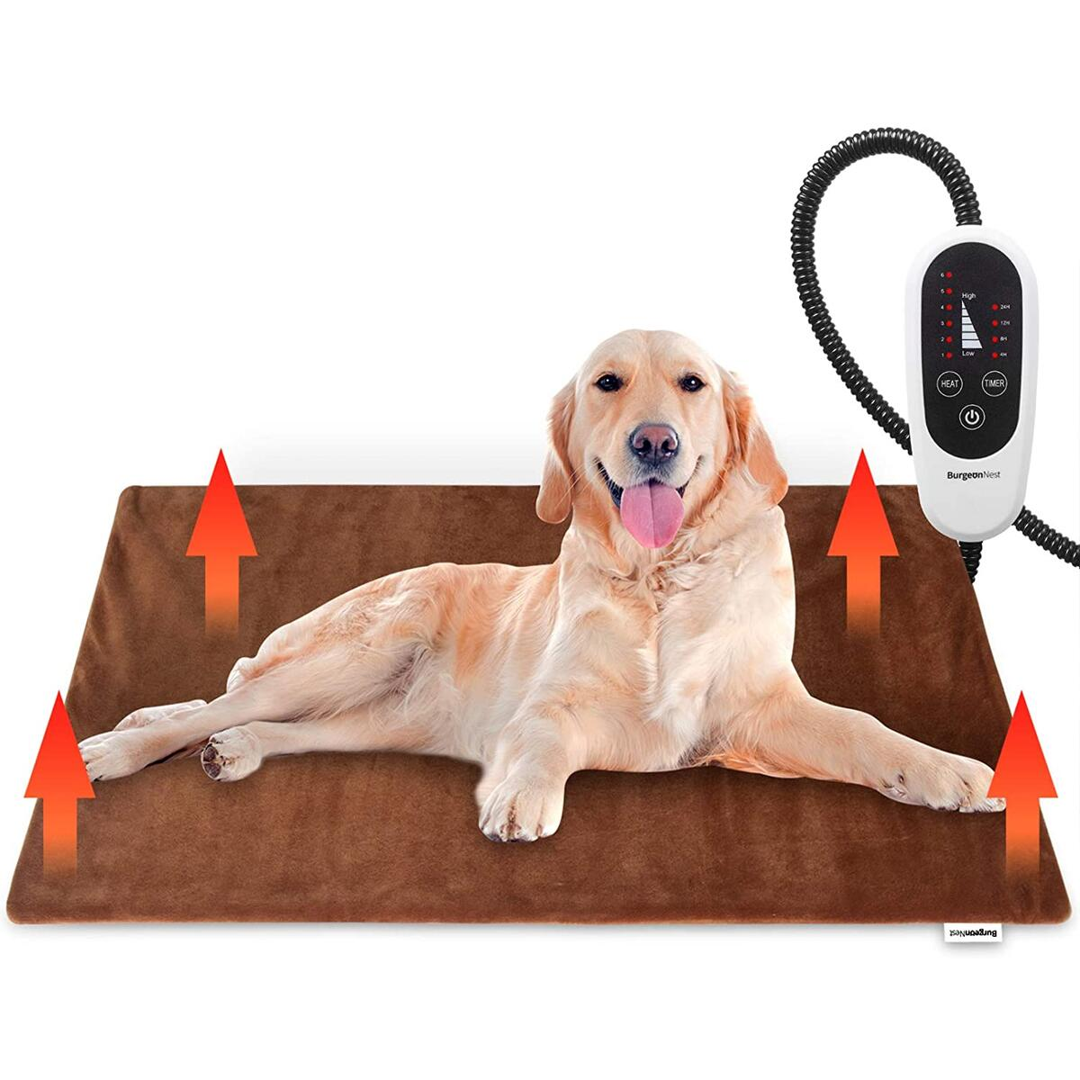 BurgeonNest Pet Heating Pad for Dogs Cats- 28 X 16 INCH, Upgraded Electric Heated Dog Cat Pad with Timer Pet Bed Warmer Blanket Auto Power Off