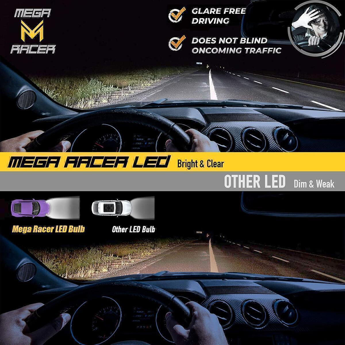 Mega Racer 4 Sided H11/H8/H9/H16 LED Headlight Bulbs for Low Beam/Fog Light/High Beam 60W 6000K 10000 Lumens Super Bright White COB IP68 Waterproof, Pack of 2