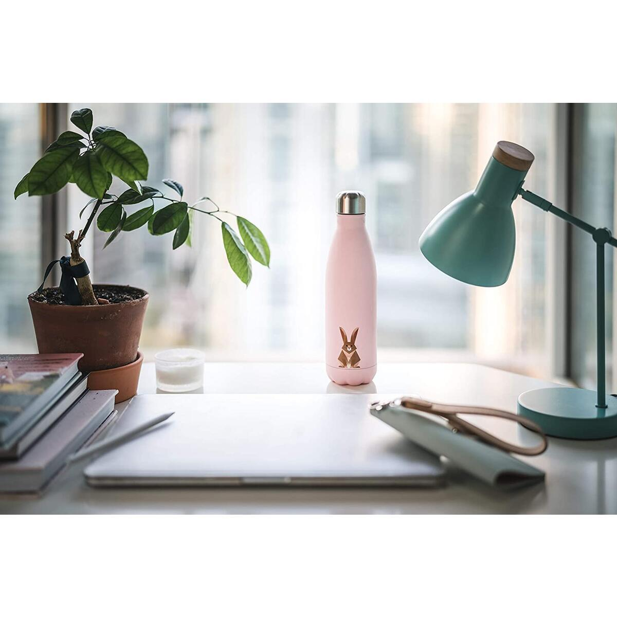 smållo   Water Bottle with Cute Bunny Design   Stainless Steel   Double Wall Insulated   Pink   17oz