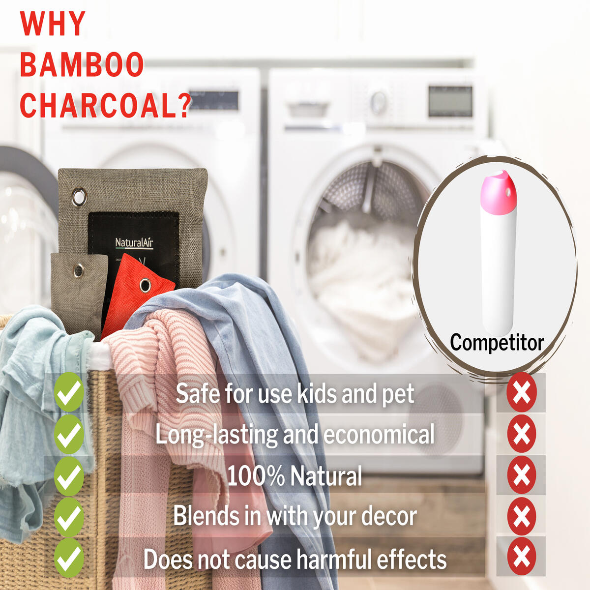 NaturalAir Activated Bamboo Charcoal Bag - Activated Charcoal bags for Home, Car, Office, Closet, Basement - (8 Pack 2x200g, 6x75g and 2 Pack Refrigerator bags)