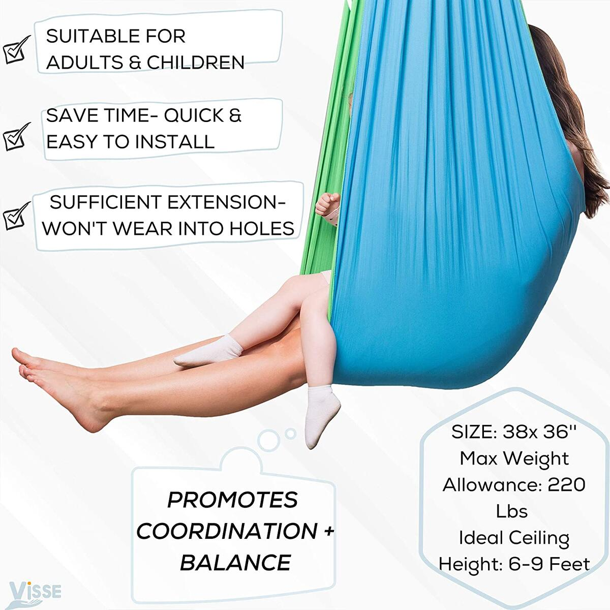 Indoor Sensory Swing for Kids & Adults - Solid Therapy Swings, Swivel Hardware Included - Holds up to 220 LBS- Helps with Sensory Processing Disorder, Autism, ADHD