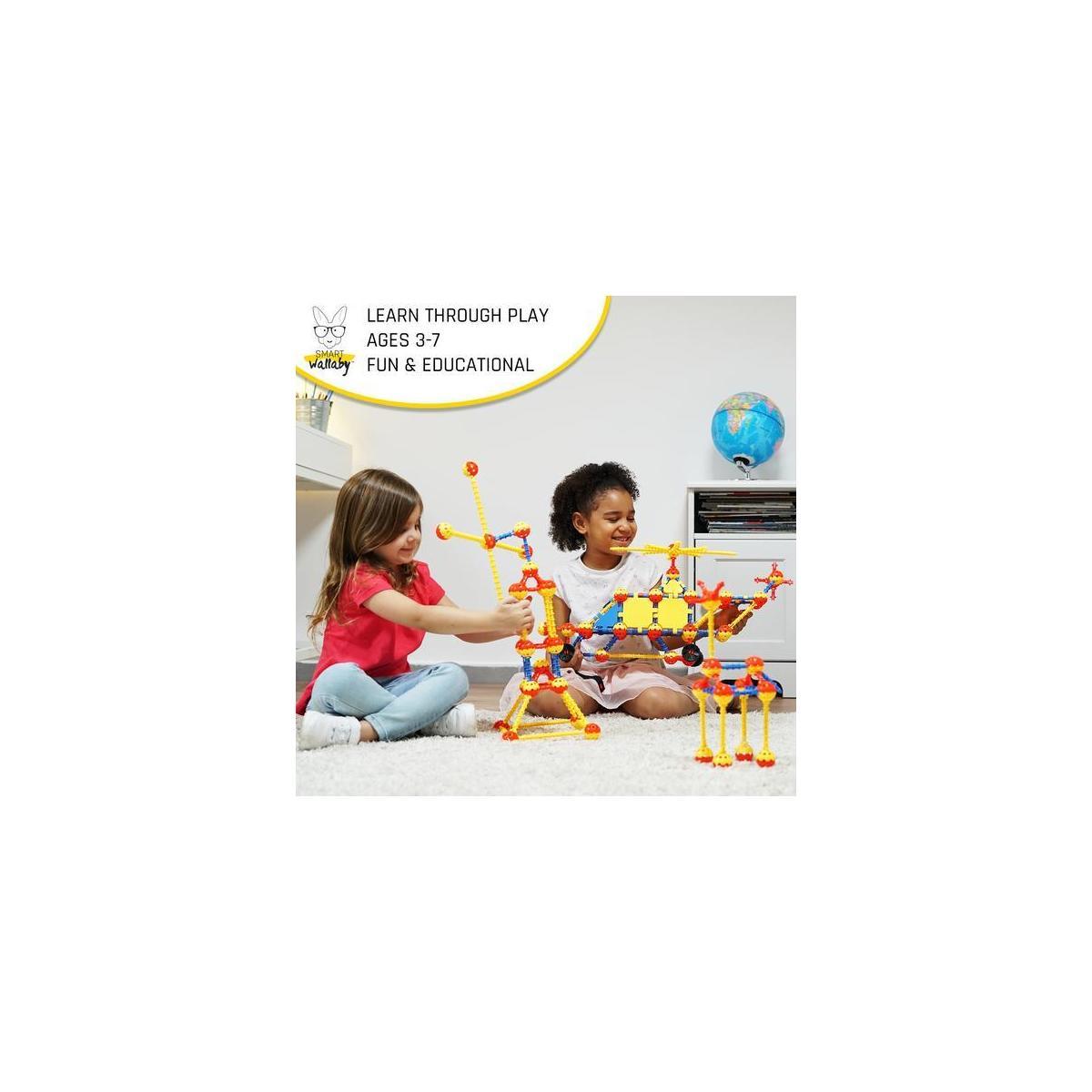 SMART WALLABY Space Building Set for Kids Ages 3+ – STEM & STEAM Creative Construction Blocks for Intellectual Development & Imagination – 160 pc. Building Kit for Boys & Girls + 56 pc. Bonus Toy