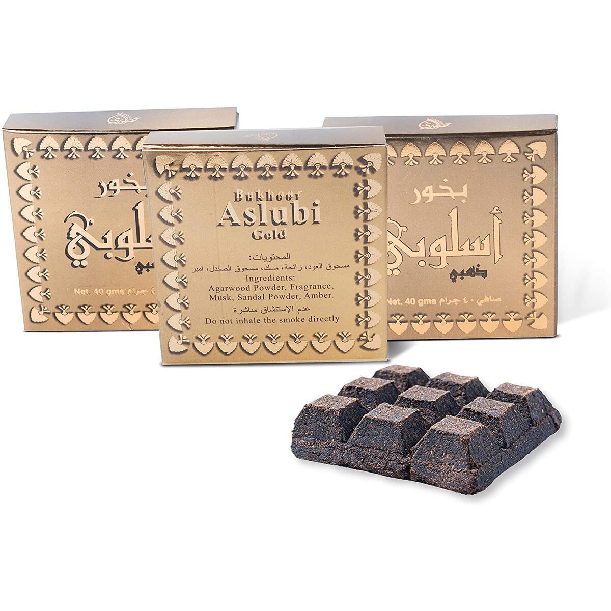 Otoori Aslubi Bakhoor Incense Gold - Arabian Bukhoor Use on Charcoal Incense Burner or Electric Insence Burner (3 Pack)