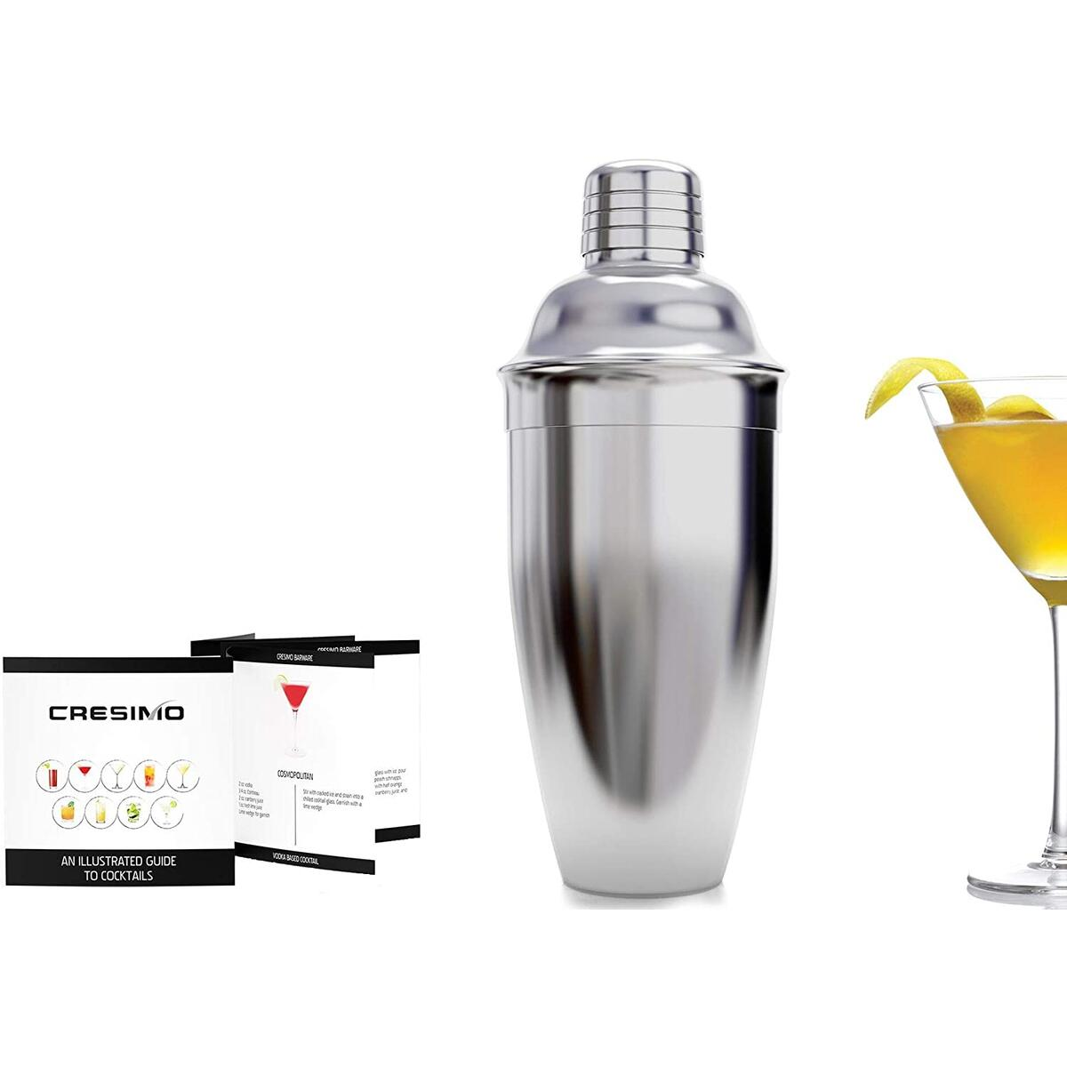 Cresimo 24 Ounce Cocktail Shaker Bar Set with Accessories - Martini Kit with Drink Recipes Booklet - Professional Stainless Steel Bar Tools - Built-in Bartender Strainer (1 Piece Set)