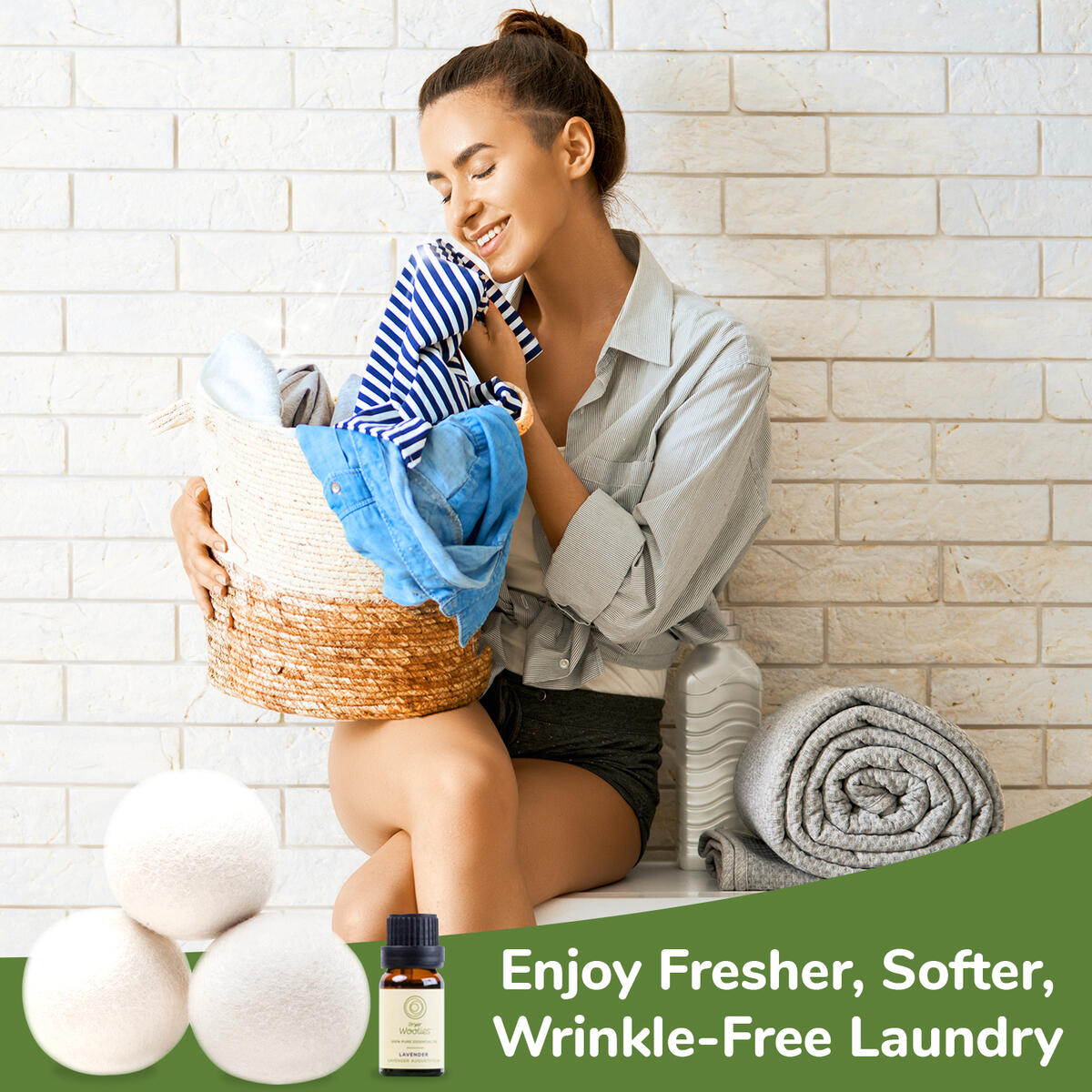 Dryer Woolies - Wool Dryer Balls (3 Pack) Reusable Organic Fabric Softener and Dryer Sheets Alternative Laundry Balls, Reduce Clothing Wrinkles and Drying Time