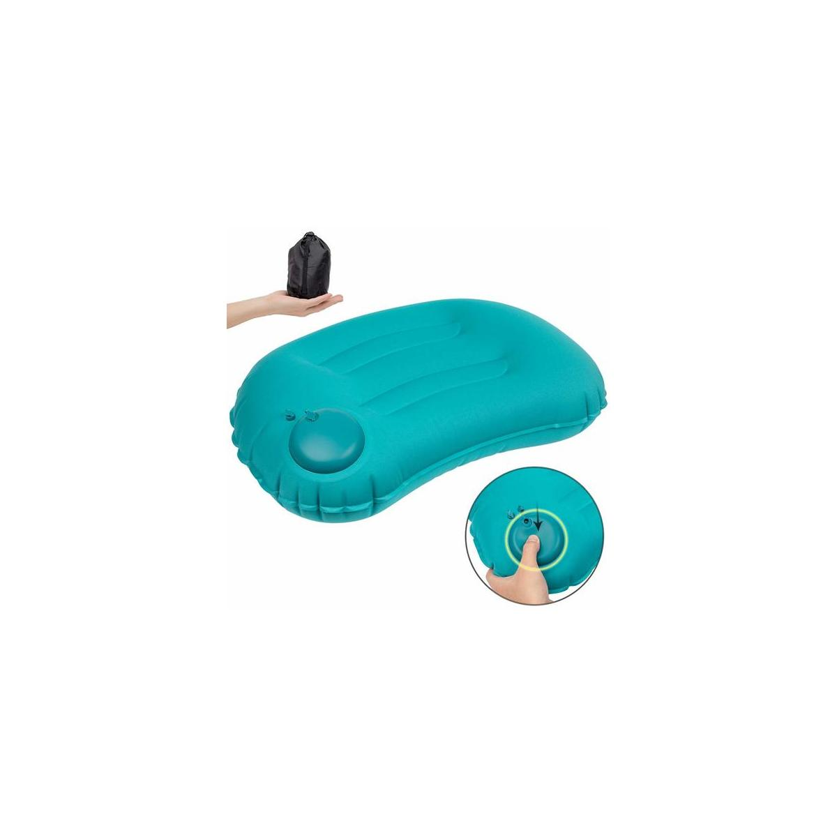 Inflatable Camping Travel Pillow(Color: Blue)