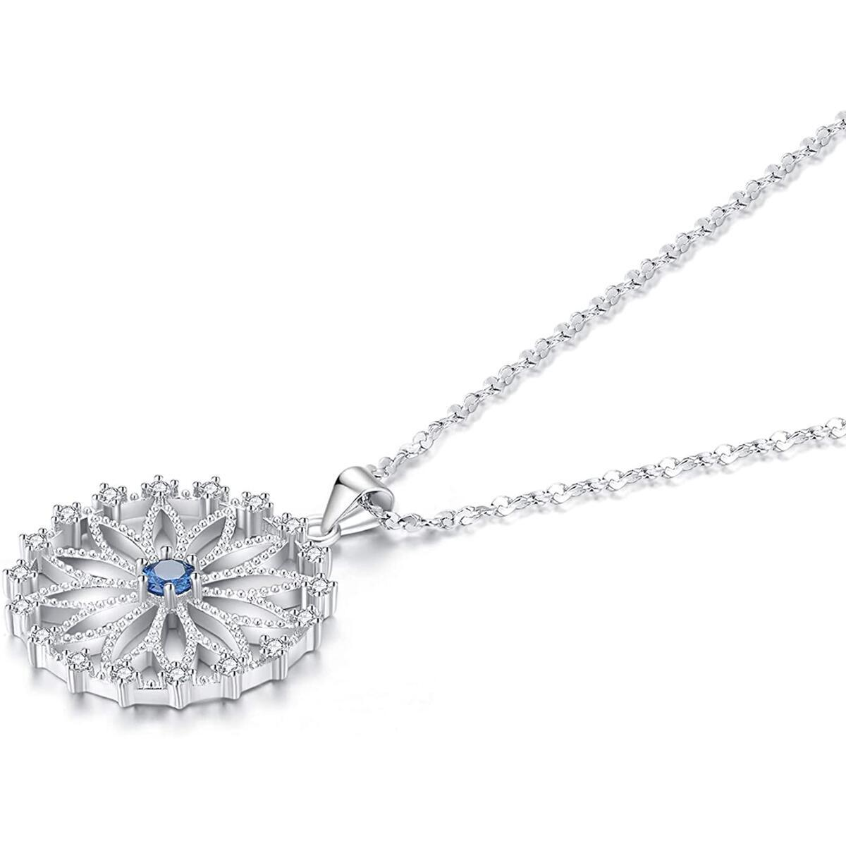 Round Necklace White Diamond Ladies Circle Necklace Ferris Wheel Jewelry for Women