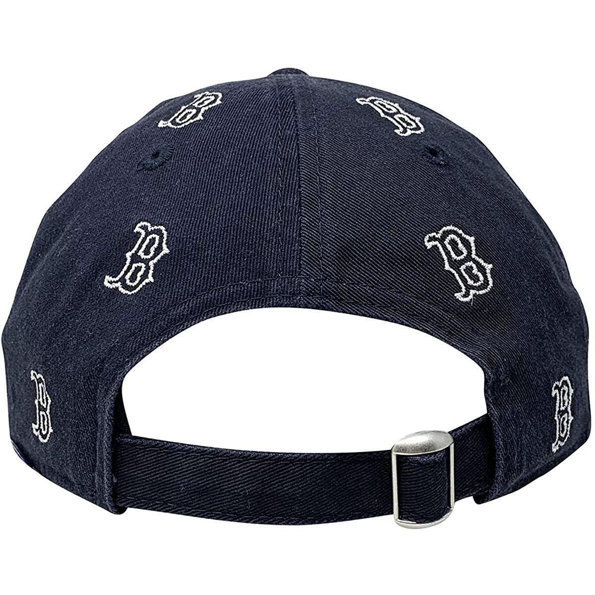 New Era Boston Red Sox Womens Adjustable Strapback Hat MLB 9Twenty Curve Bill Caps (One Size, Navy Logo Scatter)