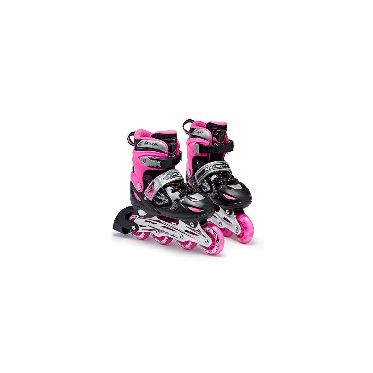 BLACK/PINK SKATES ONLY - PLEASE CLICK ON THE IMAGE OF THE BLACK/BLUE SKATES AND THEN CHOOSE PINK SKATES FROM THE LIST - XinoSports Adjustable Inline Skates - Featuring Light Up Illuminating Wheels, for Girls and Boys Ages 5-20; 1 Year Warranty