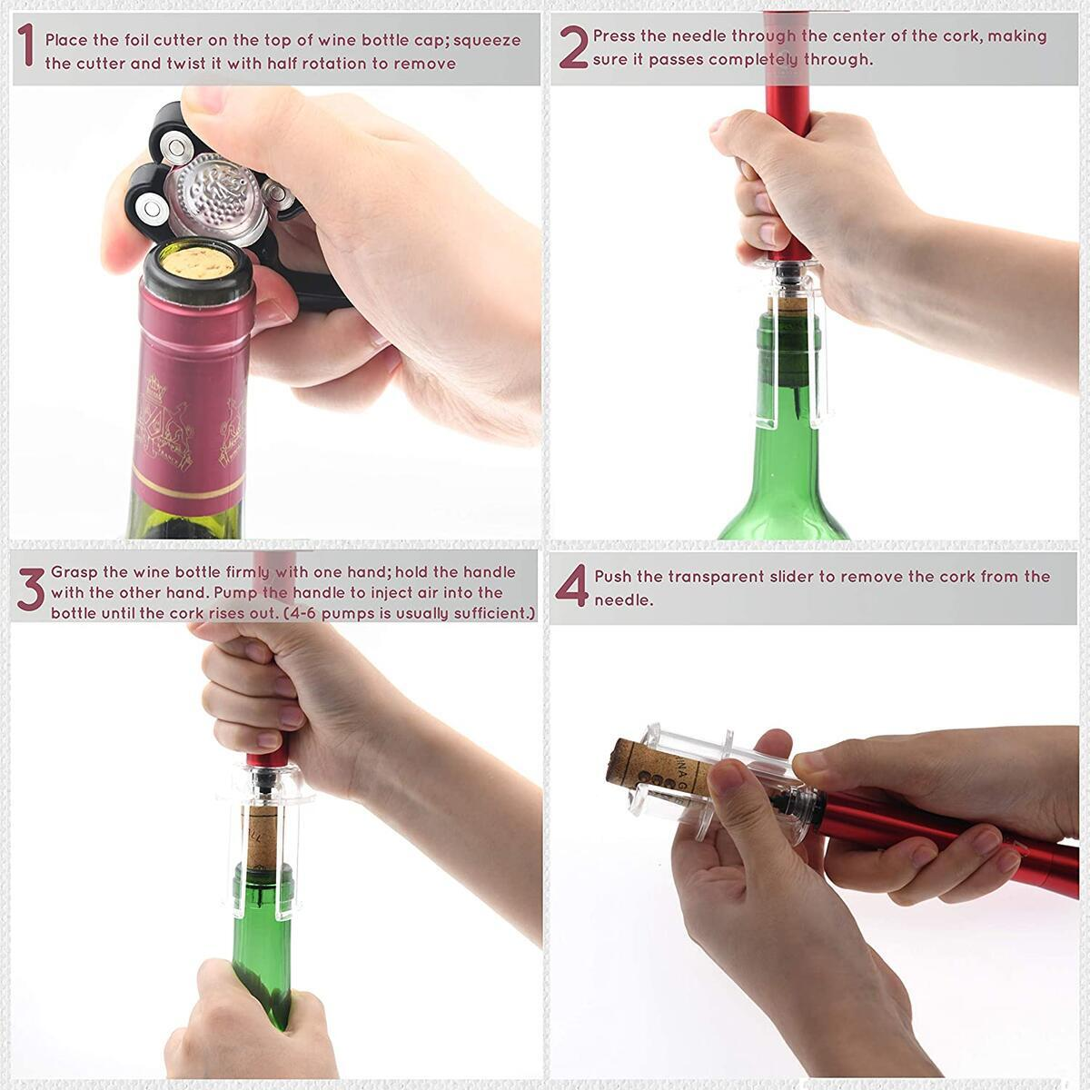 Liventive Wine Bottle Opener | Wine Accessories Set with Air Pressure Pump Bottle opener | Foil cutter | Wine chiller | Wine Aerator & Pourer | Vacuum stopper | Perfect Wine gifts set for Wine lovers