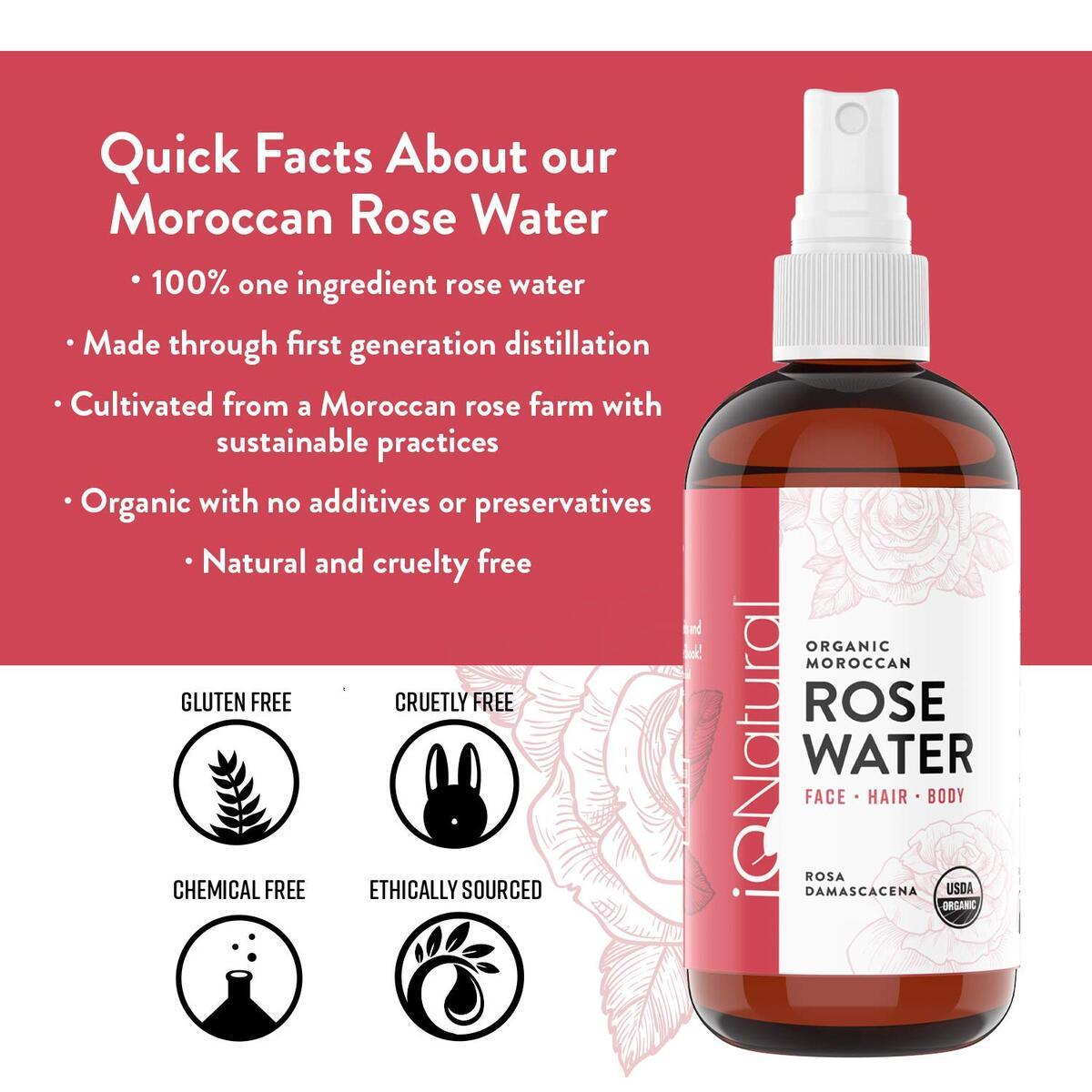 Rose Water Spray For Face and Hair | Certified Organic